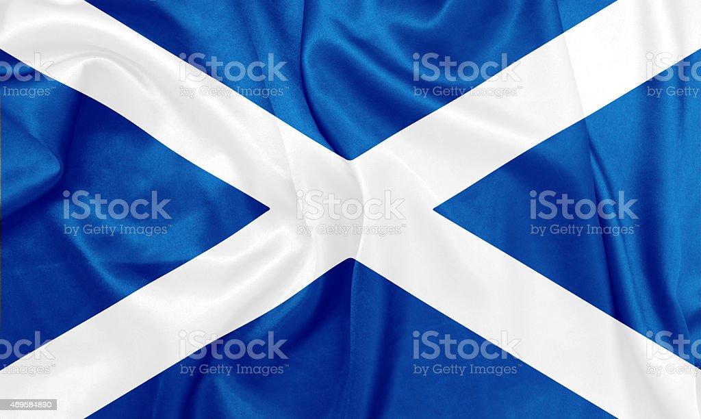 Scotland - Waving national flag on silk texture stock photo