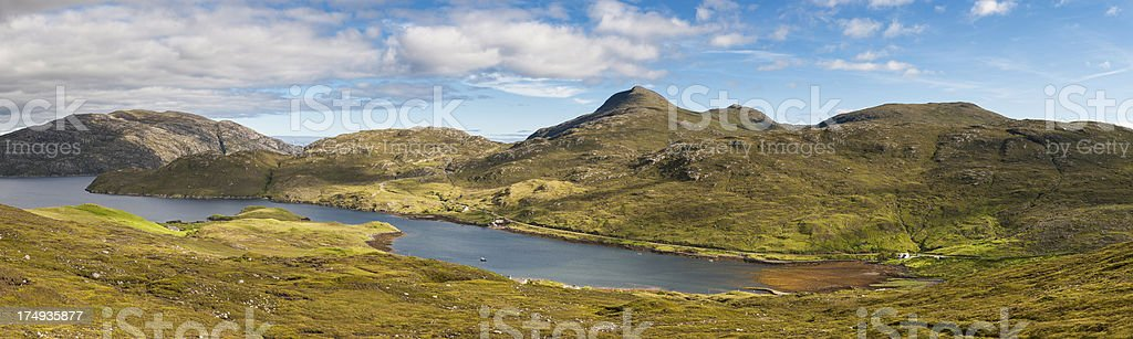 Scotland Western Isles mountains lochs and crofts panorama royalty-free stock photo