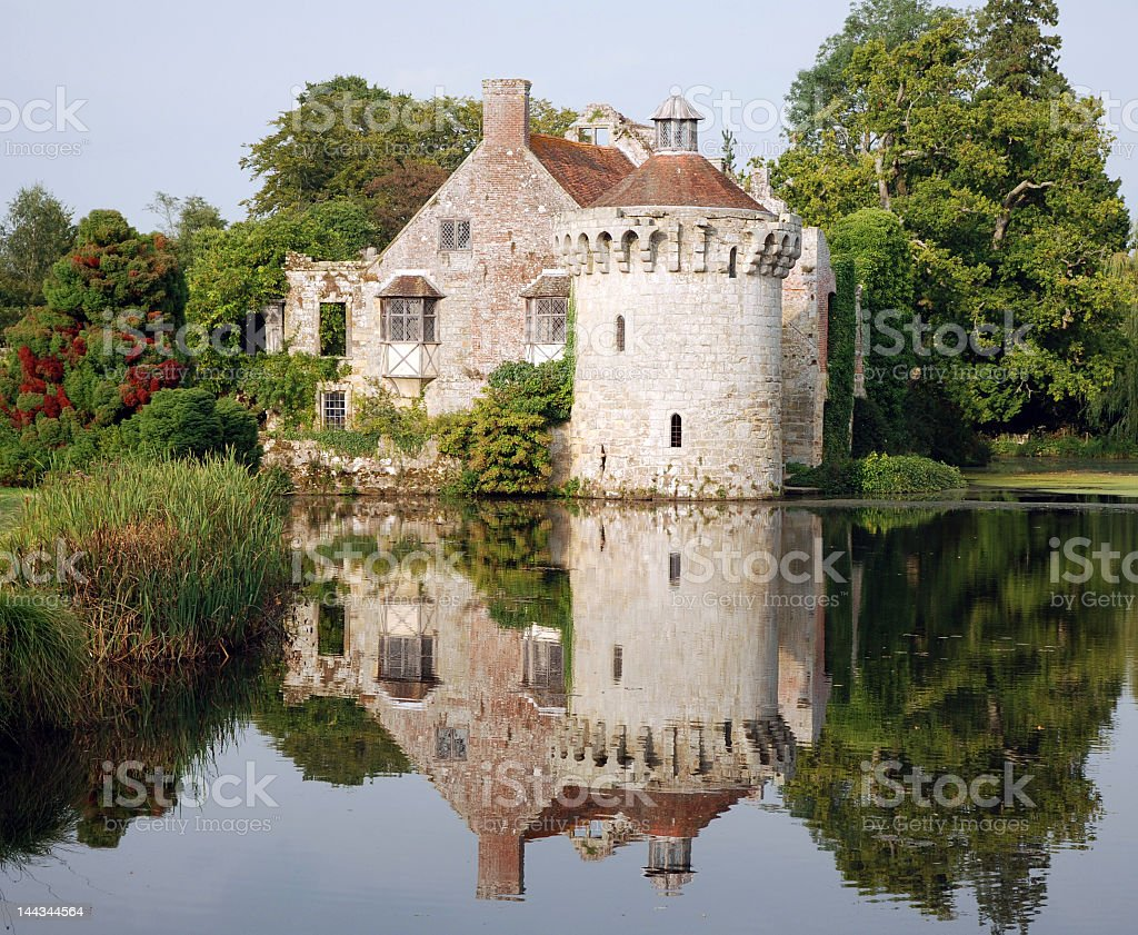 Scotney Castle reflecting in moat. royalty-free stock photo
