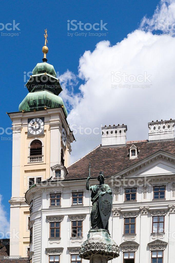 Scots Abbey tower on Freyung square, Vienna, Austria stock photo