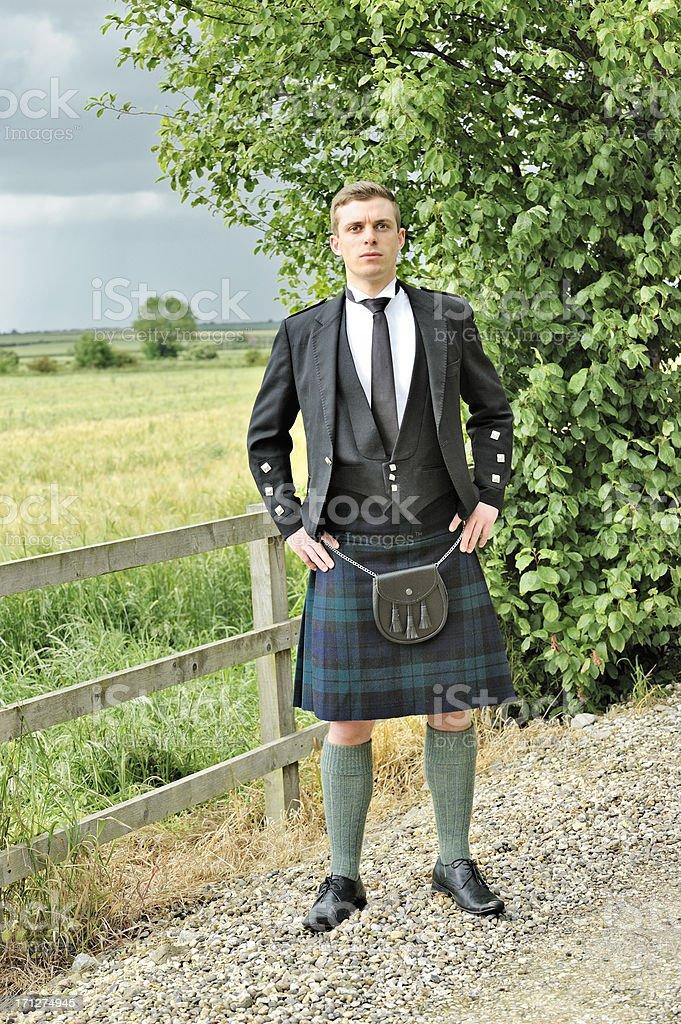Scotsman in kilt stock photo