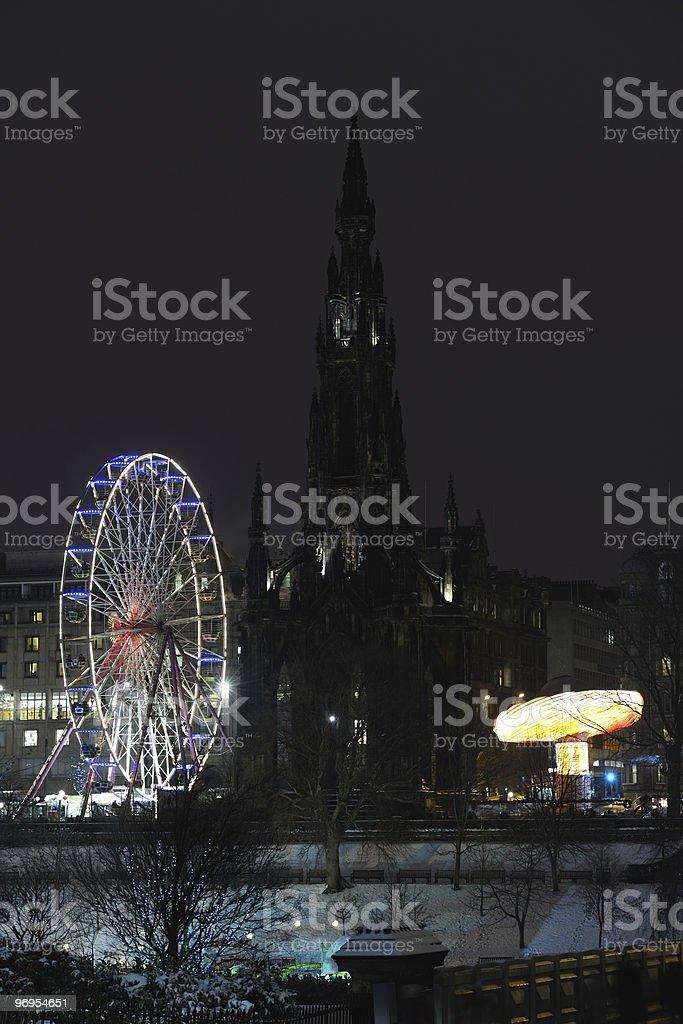 Scott Monument and big Ferris Wheel, Edinburgh, Scotland, UK royalty-free stock photo