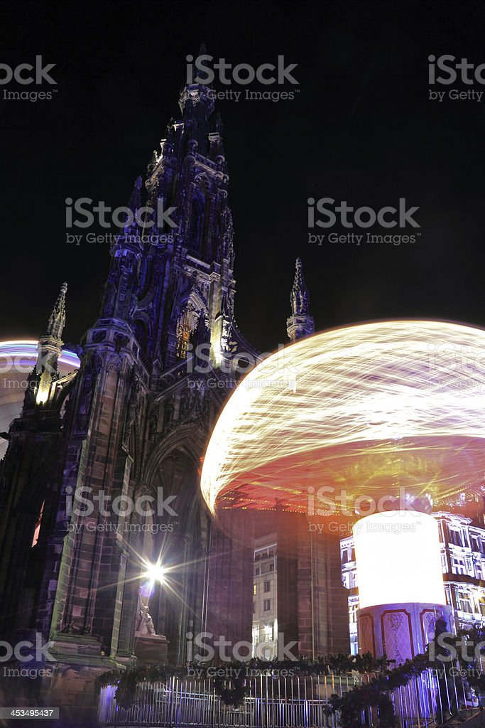 Scott Monument at Night stock photo