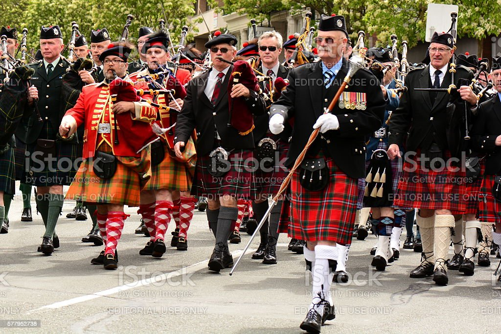 Scottish Bagpipers marching in Parade stock photo