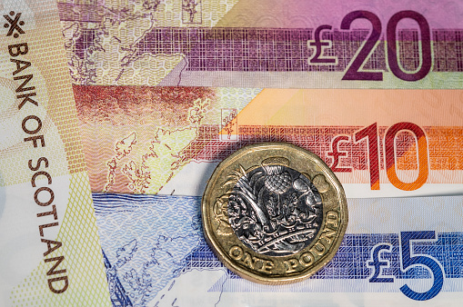 Macro image of polymer Scottish bank notes lined up next to each other, showing their numerical values of £5, £10 & £20. An outline image of the map of Scotland is shown on the notes. A British one pound coin is added to the collection of currency. The gold and silver coloured coin has the symbols of the United Kingdom on it, a rose, leek, thistle and shamrock.