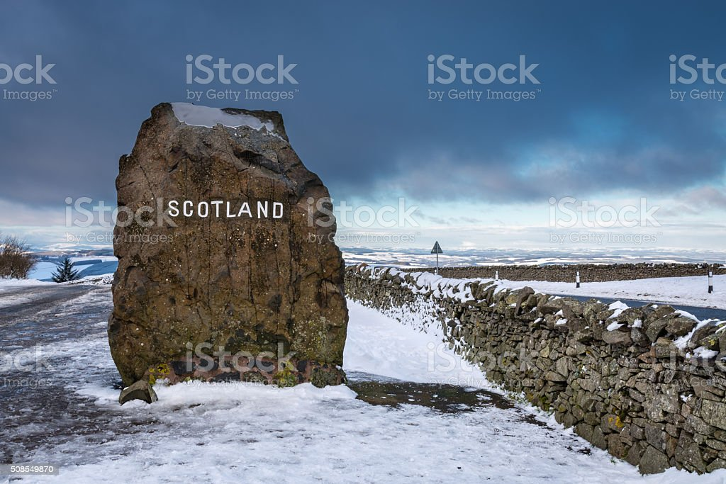 Scottish Border Marker Stone stock photo