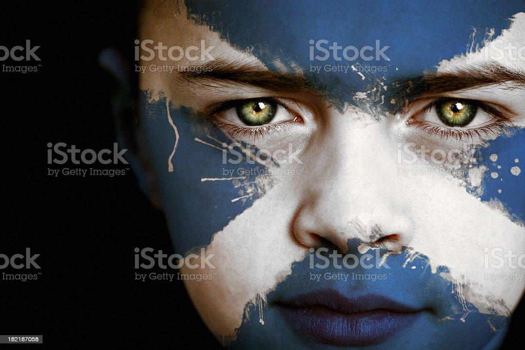 Scottish boy with the flag of Scotland stock photo