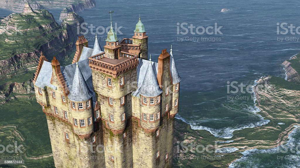 Scottish castle by the sea stock photo