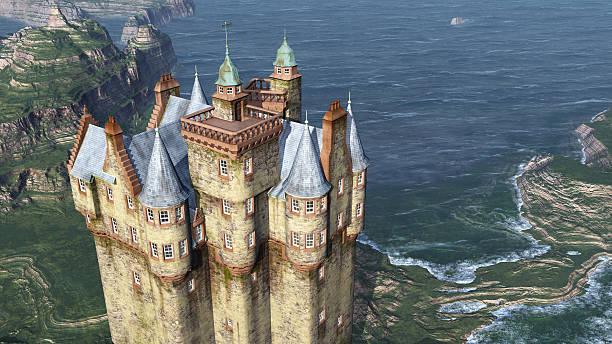 Scottish castle by the sea stock photo
