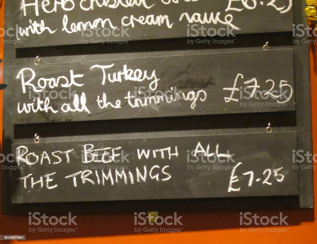 Scottish chalkboard menu stock photo