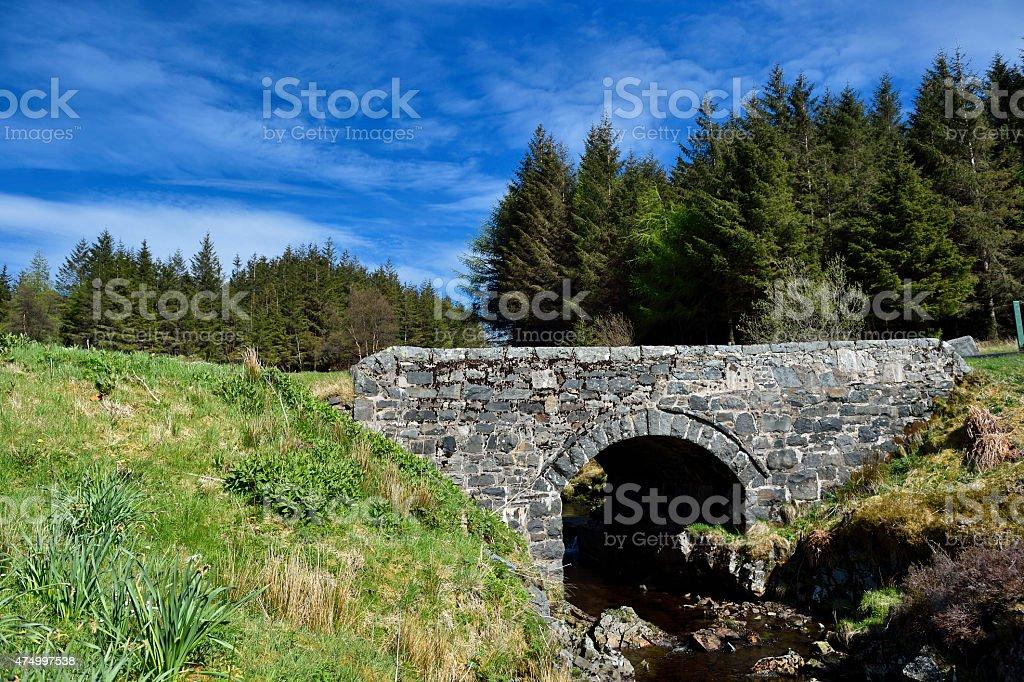 Scottish countryside and a small stone bridge stock photo
