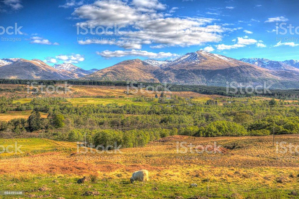 Scottish countryside snow topped mountains Ben Nevis Scotland UK HDR stock photo