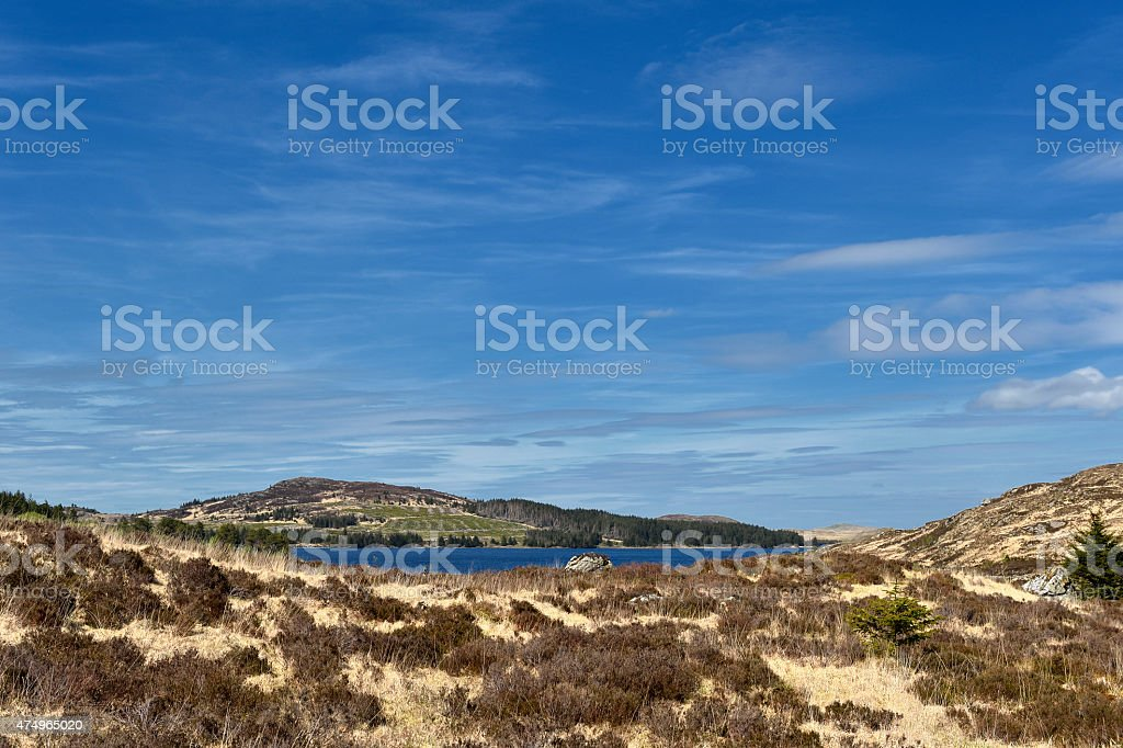 Scottish countryside with hills and a loch stock photo