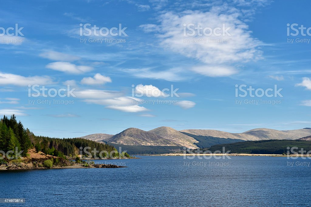 Scottish countryside with hills and Loch Doon stock photo