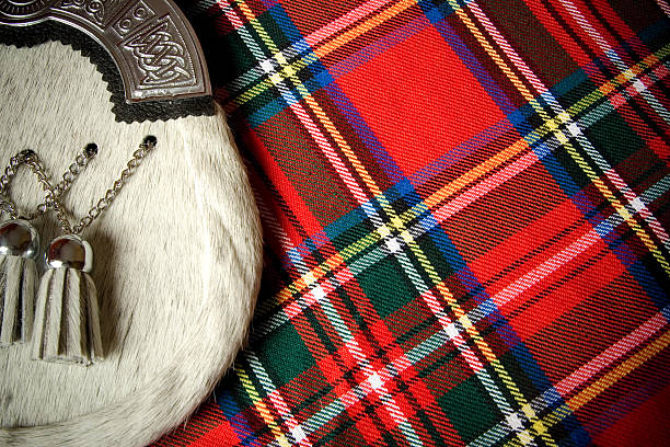 Scottish Culture Kilt and sporran. plaid stock pictures, royalty-free photos & images