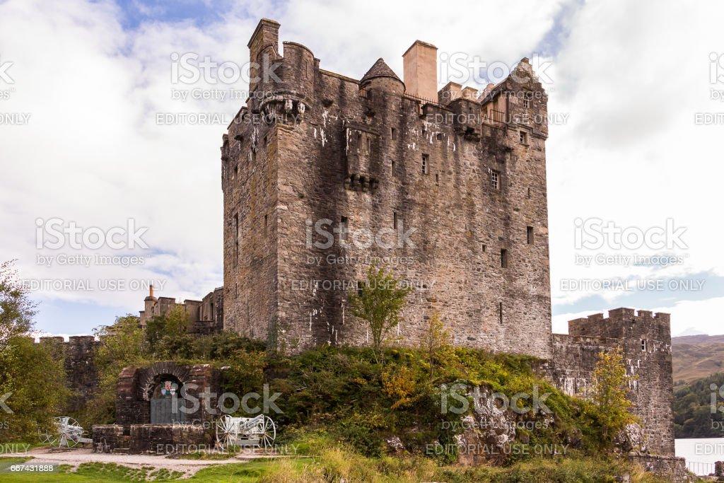 Scottish Eilean Donan castle west facade stock photo