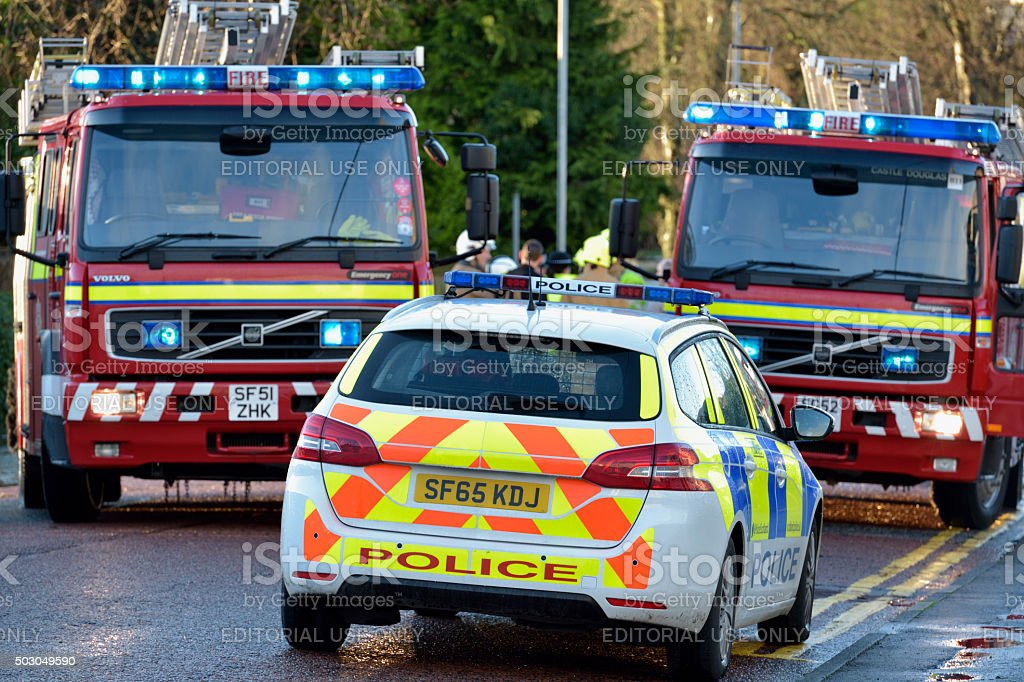 Scottish fire brigade personnel attending a flood stock photo