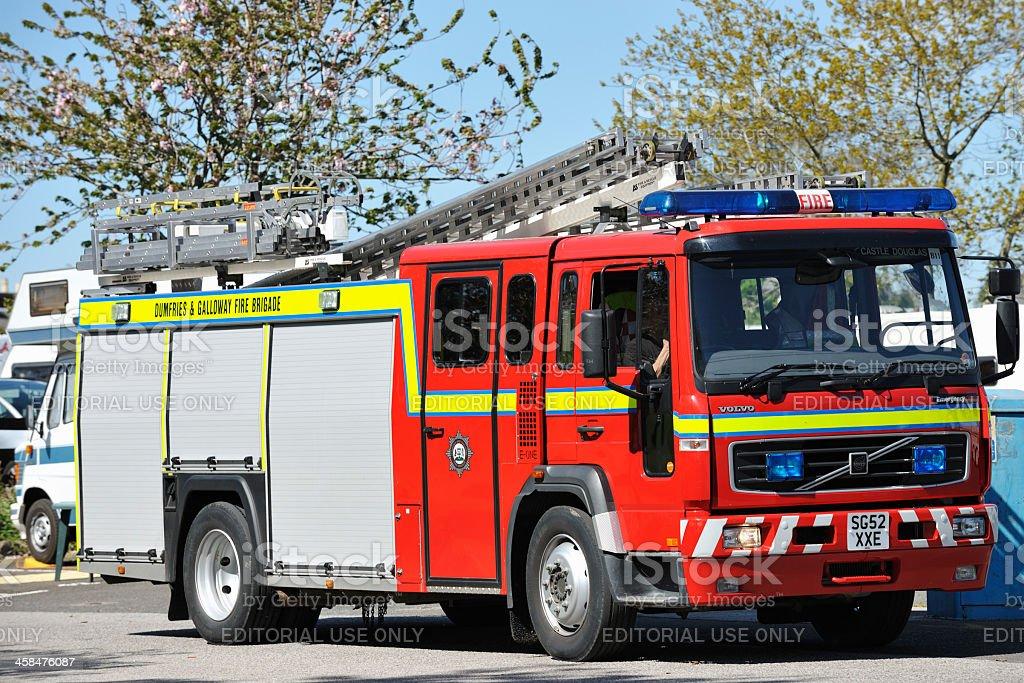 Scottish fire engine stock photo