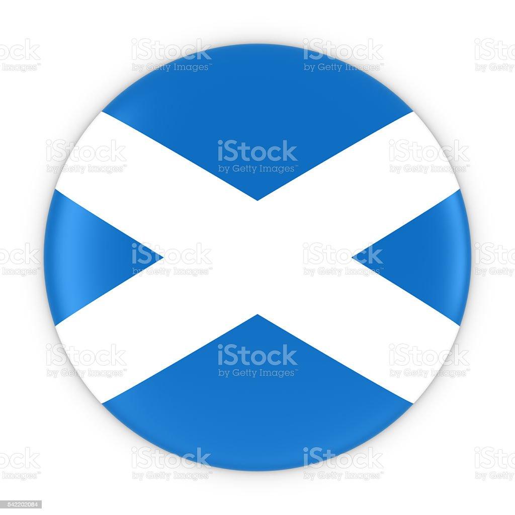 Scottish Flag Button - Flag of Scotland Badge 3D Illustration stock photo