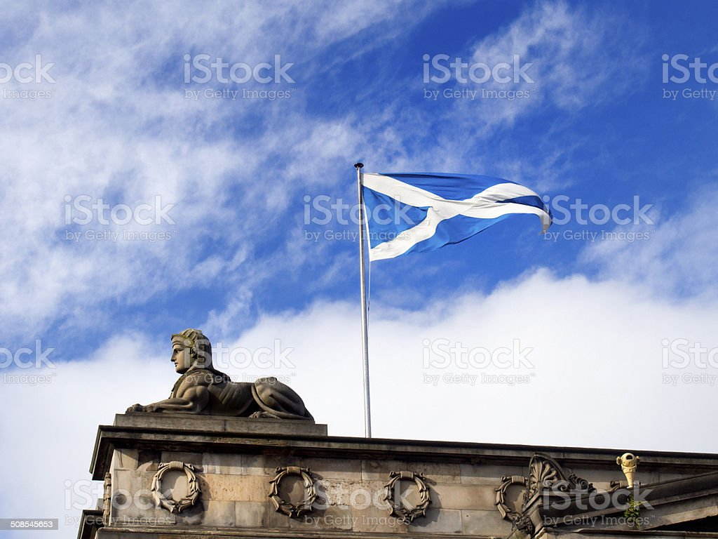 Scottish flag in wind stock photo