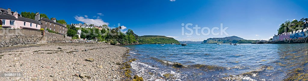 Scottish harbor beach panorama royalty-free stock photo