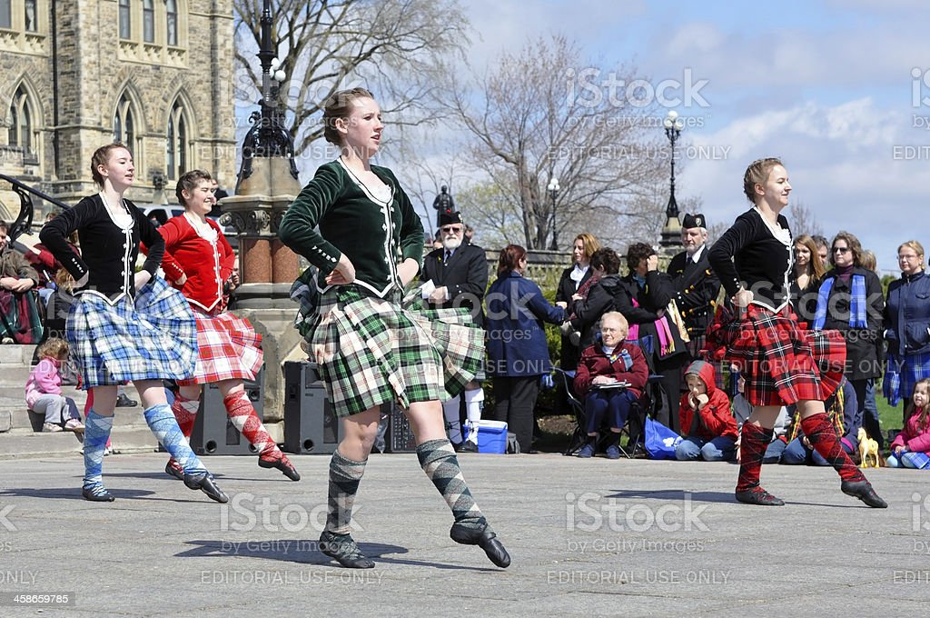 Scottish Highland dancers on Tartan Day stock photo