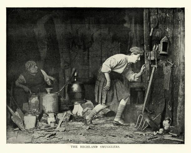 Scottish highland smugglers making moonshine whiskey, 19th Century stock photo