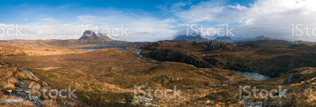 Scottish Highlands Inverpolly wilderness Suilven heather grasslands panorama Scotland UK royalty-free stock photo