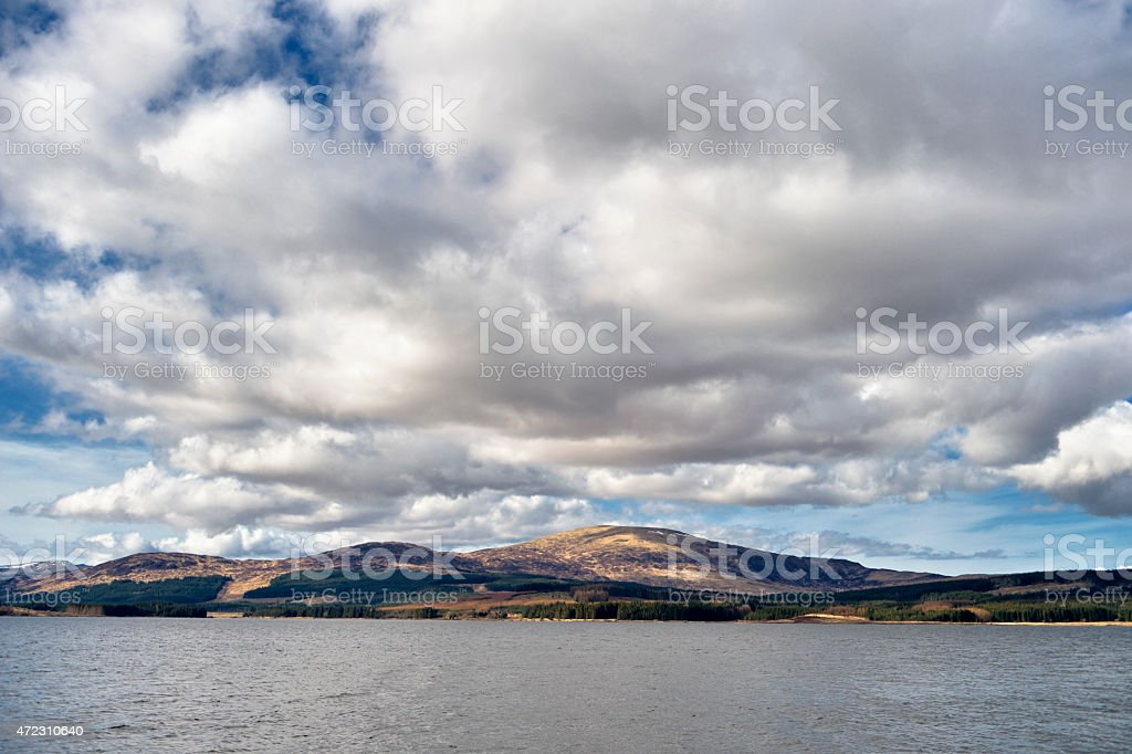 Scottish landscape with hills and a loch stock photo
