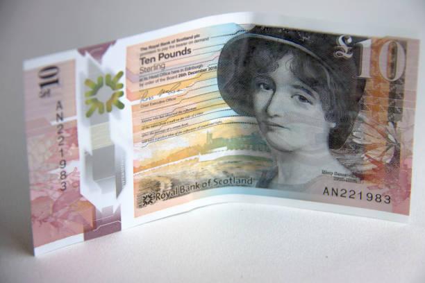 Scottish money. Ten pound bank note Scottish money. Royal Bank of Scotland. Ten pound bank note ten pound note stock pictures, royalty-free photos & images