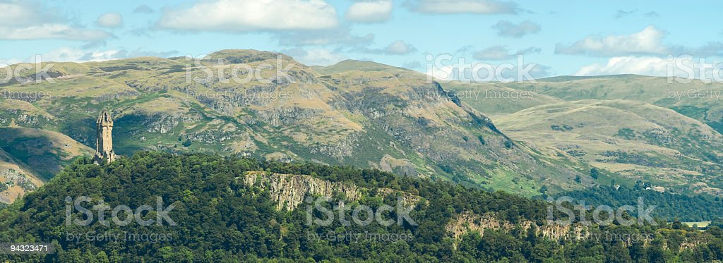 Scottish mountains and Wallace Monument stock photo