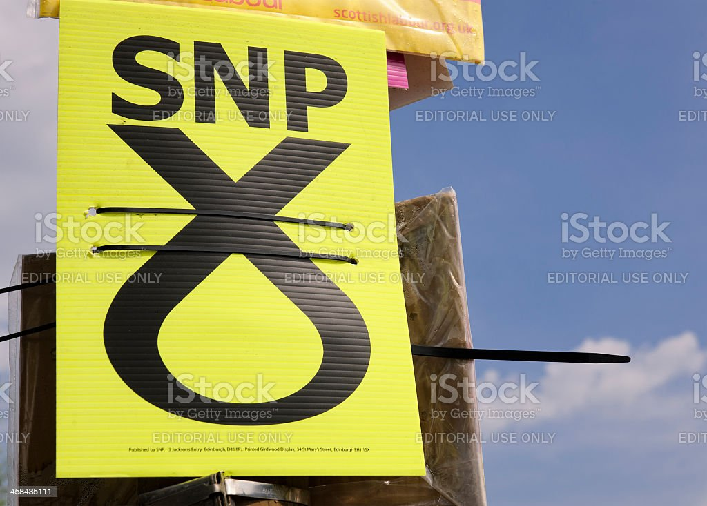 Scottish National Party election advertising card stock photo