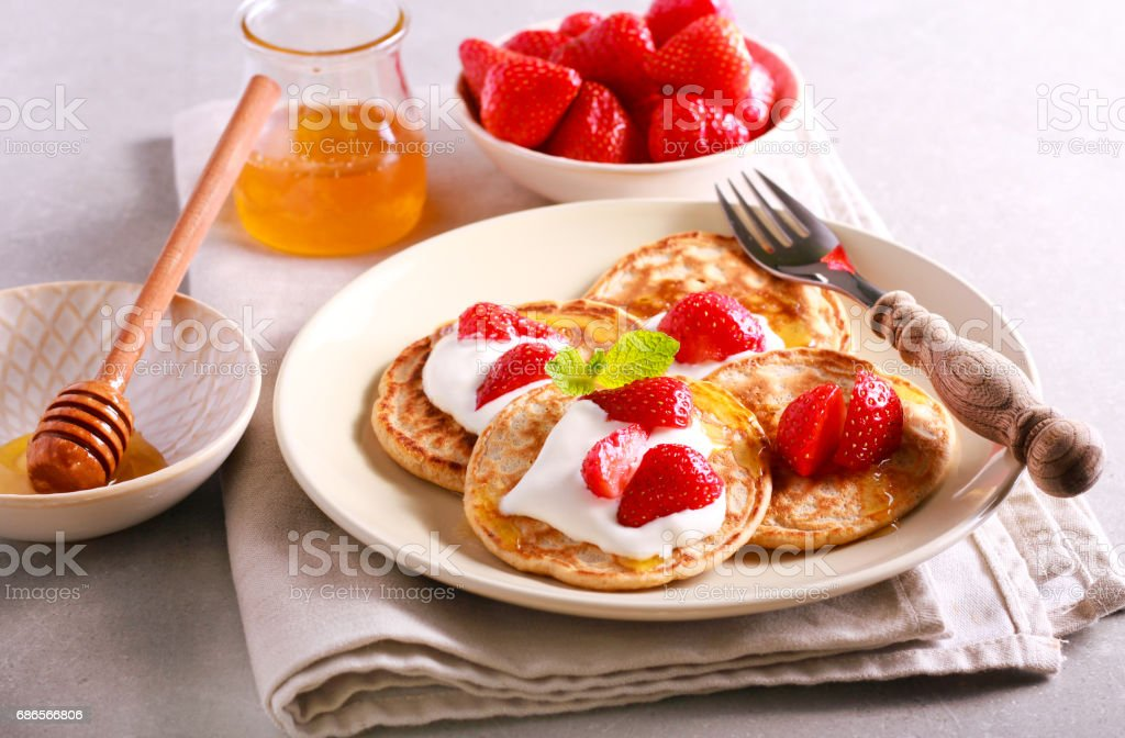Scottish oat pancakes with honey foto stock royalty-free