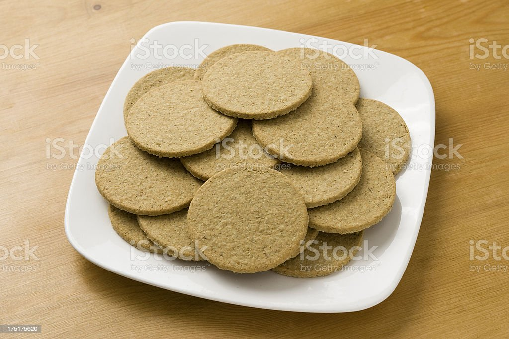 Scottish oatcake crackers or biscuits served on a plate royalty-free stock photo