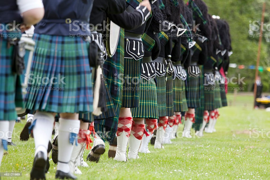 Scottish Pipe Band At A Highland Games Event Stock Photo