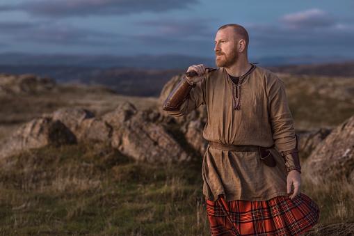 Scottish Redhead Warrior wearing a kilt