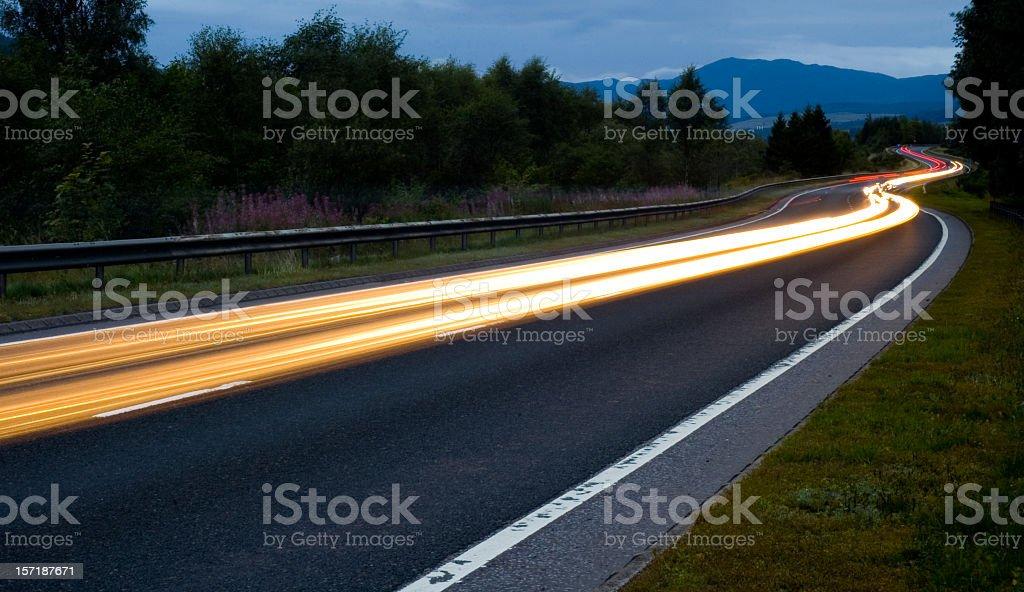 Scottish Road at Night stock photo
