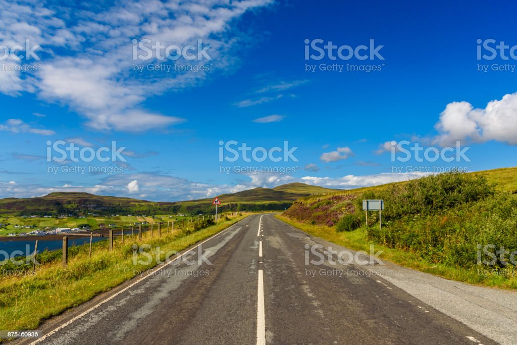 Scottish road in the Isle of Skye stock photo
