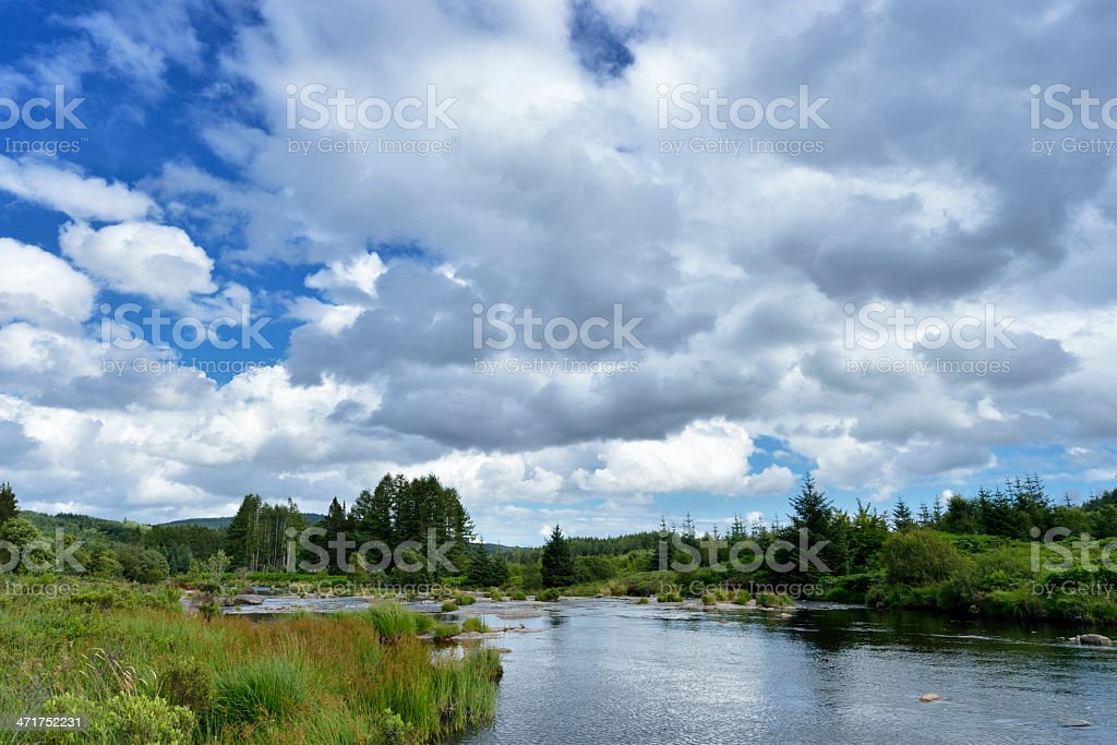 Scottish rural scene of a countryside river during summer stock photo