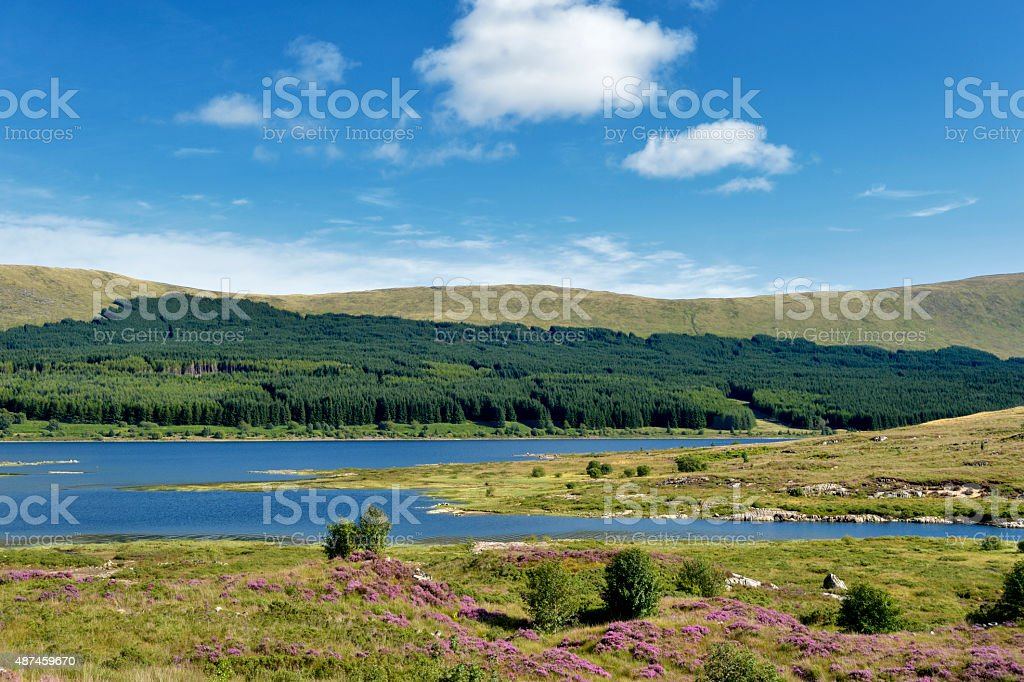 Scottish rural scene of Loch Doon in East Ayrshire stock photo