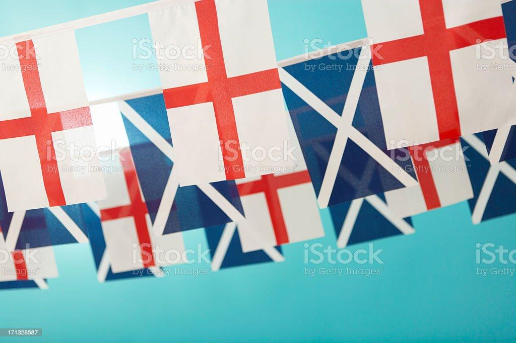 Scottish Saltire and English Saint George's flag stock photo