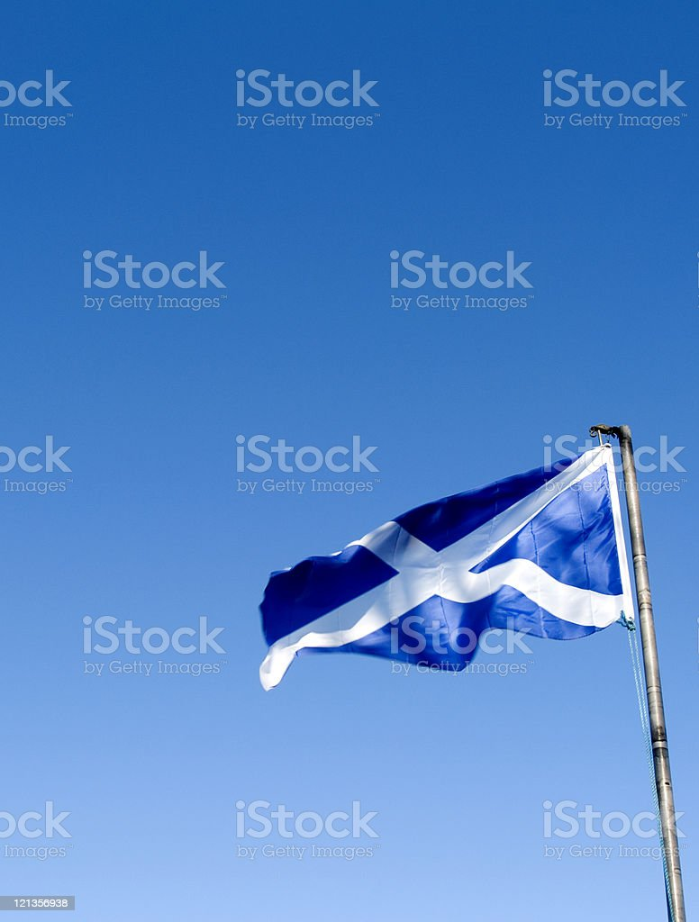 Scottish Saltire blowing in the wind stock photo