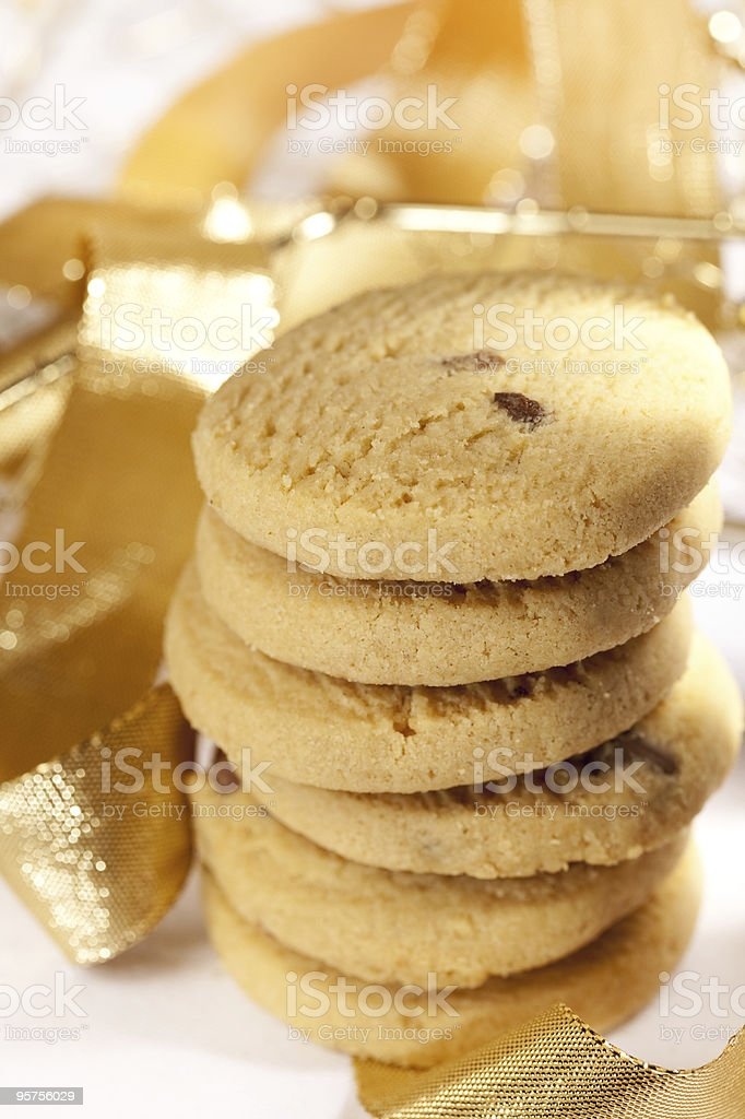 scottish shortbread cookies with golden glitter ribbon royalty-free stock photo