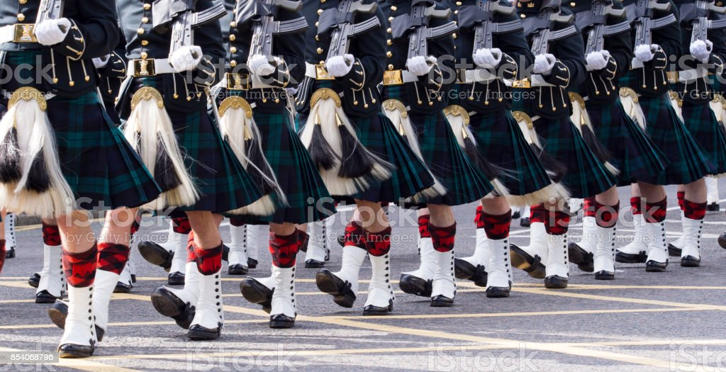 Scottish Soldiers on Parade wearing Kilts and Sporrans stock photo