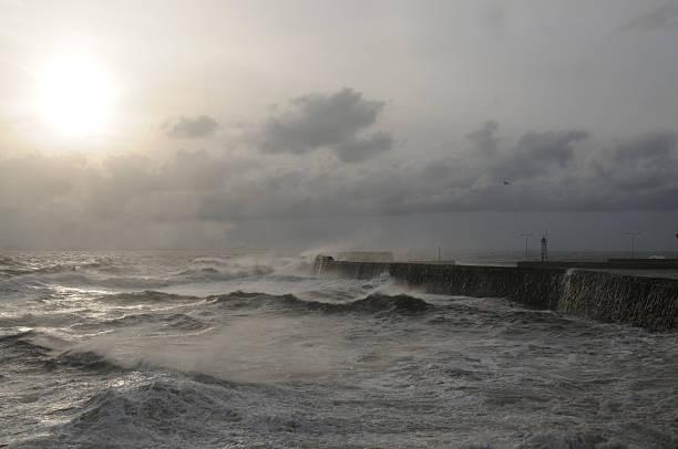 Scottish Storm at Sea stock photo