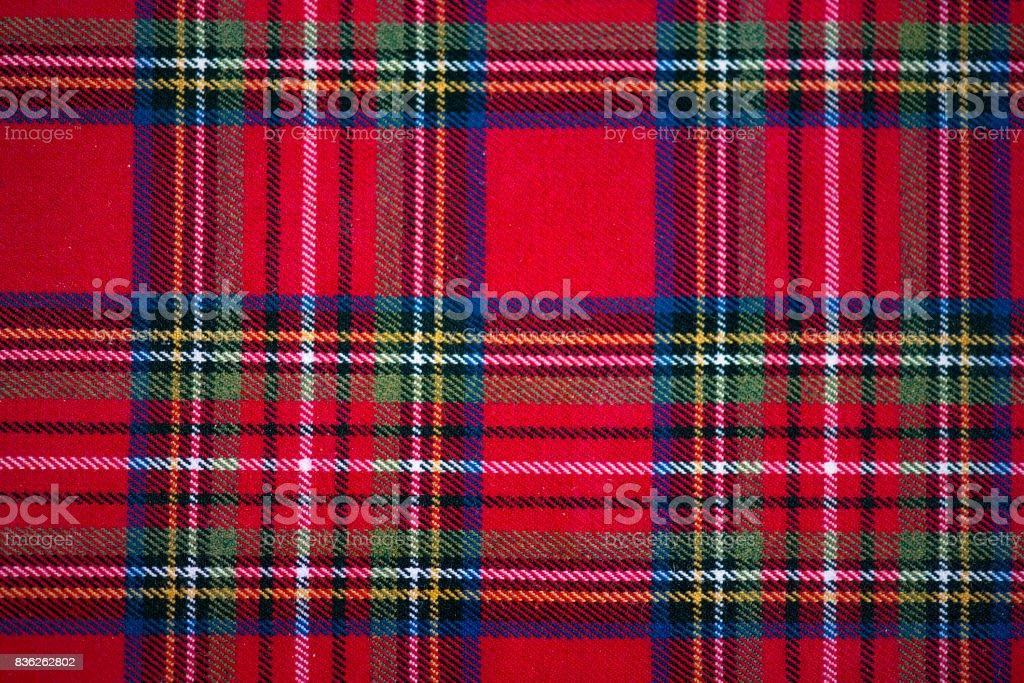 Scottish style fabric, tartan plaid texture stock photo