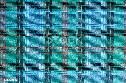 Close up of Scottish tartan called Lochcarron Hunting Ancient.