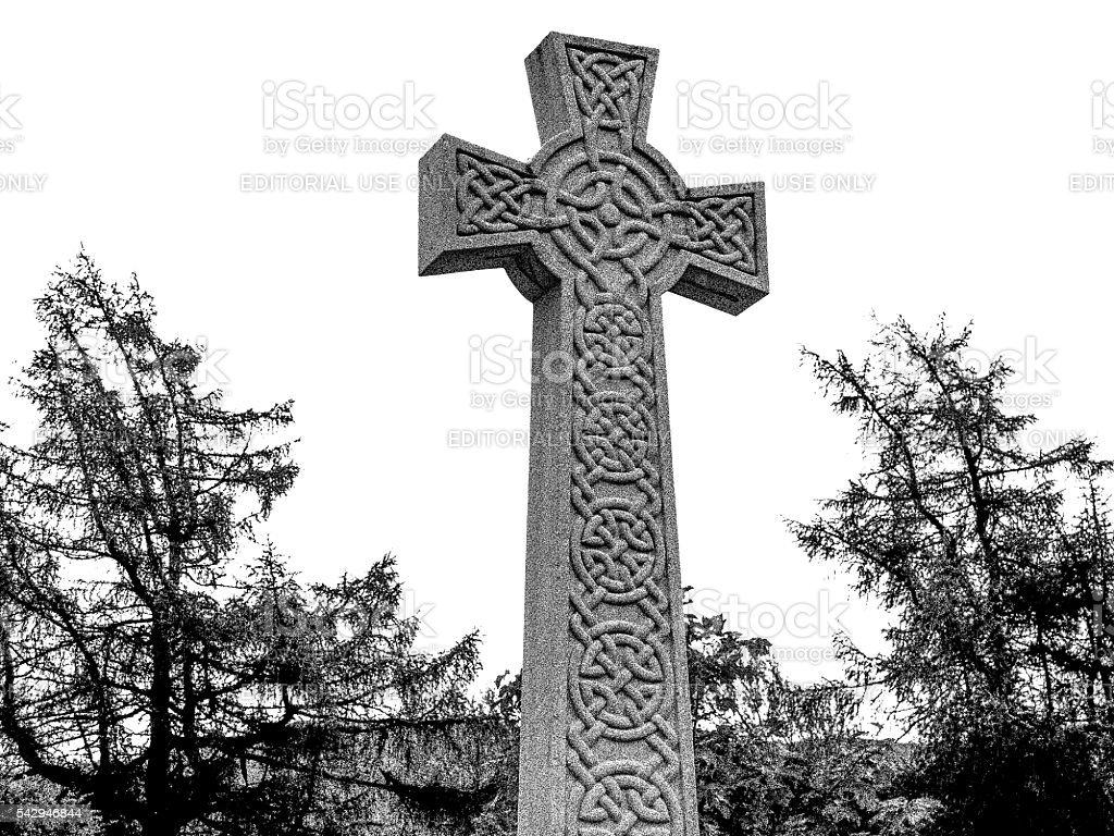 Scottish War Memorial Celtic Cross Braemar stock photo