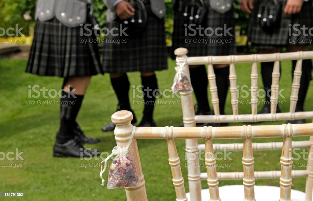 Scottish wedding - kilts stock photo