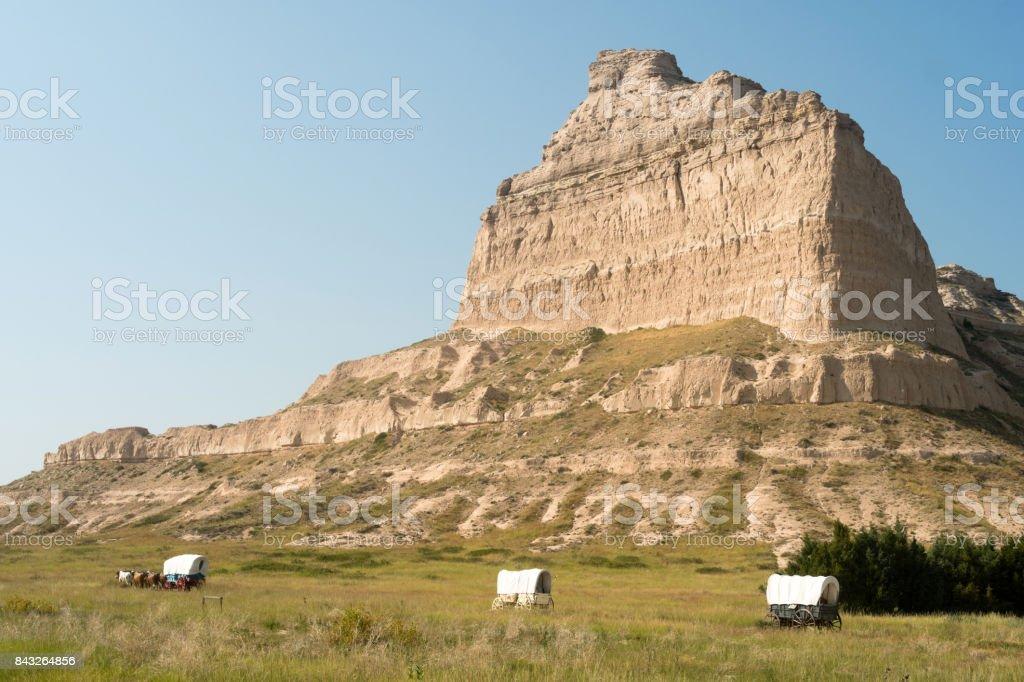 Scotts Bluff National Monument Covered Wagon Nebraska Midwest USA stock photo